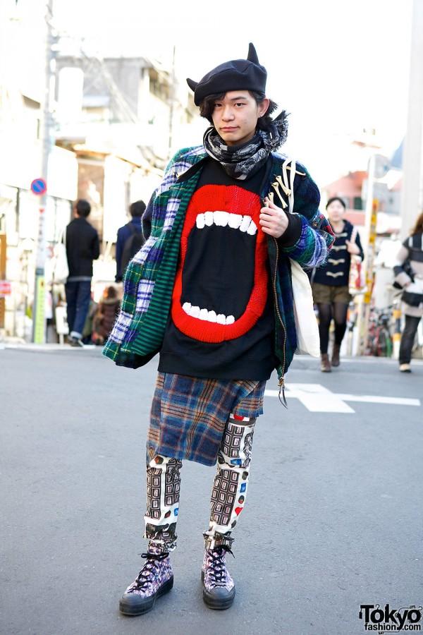 Juvenile Hall Rollcall Plaid, Hiro Lips Sweater & Horns Beret in Harajuku