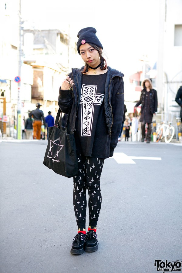 Harajuku Girl w/ Pink Braids, ANAP, Cross Print Tights & Creepers