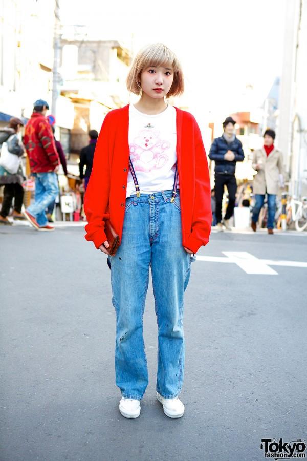 Vivienne Westwood Teddy Bear, Suspenders & Cardigan in Harajuku