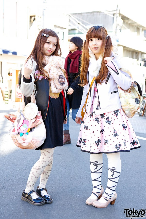 Harajuku Girls w/ Cute Cat Bags, Baby The Stars Shine Bright, Milk & F.i.n.t