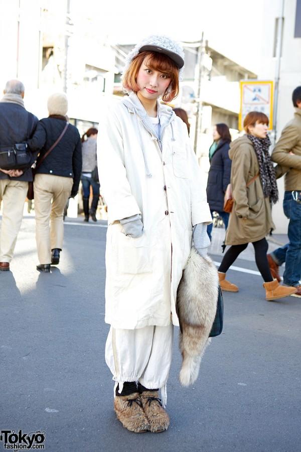 Harajuku girl in long coat