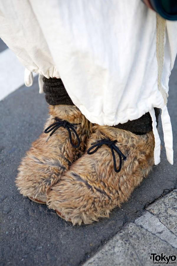 Faux fur shoes