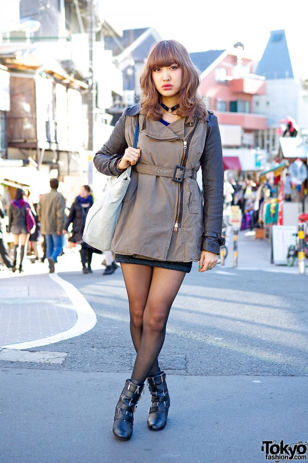 Leather Sleeve Jacket, Choker & Prada Accessories in Harajuku