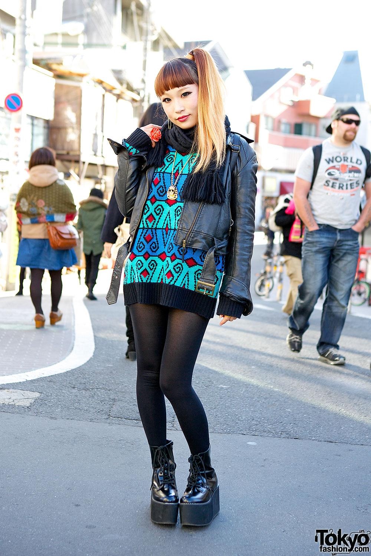 Colorful Sweater in Harajuku