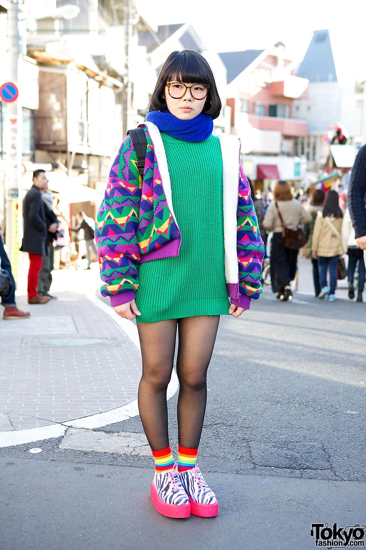 Harajuku Girl In Glasses, Colorful Fashion & Neon Zebra