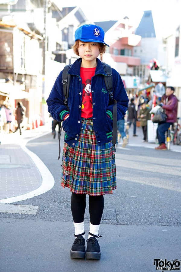 Cute Resale Style in Harajuku w/ Mickey Mouse, Plaid Skirt & Tokyo Bopper Shoes