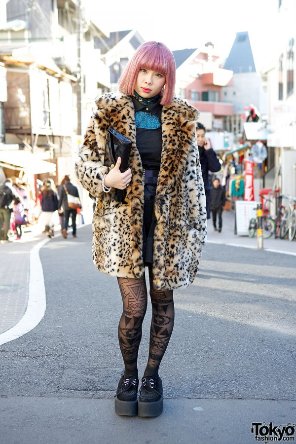 Pink Hair, Bubbles Harajuku Leopard Coat & Choco Moo x Avantgarde Tights