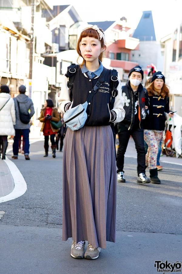 Pleated Maxi Skirt, Varsity Jacket & Retro Sneakers in Harajuku