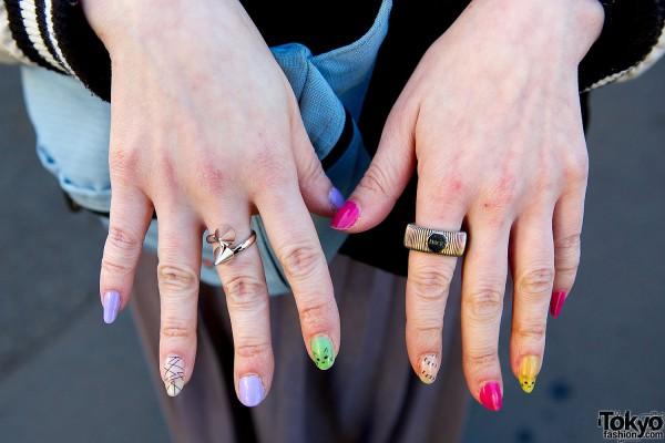 Rings and Cute Japanese Nail Art