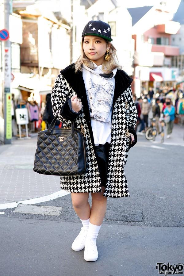 Harajuku J-Pop Singer w/ Chanel Bag, Houndstooth Coat & Kawi Jamele