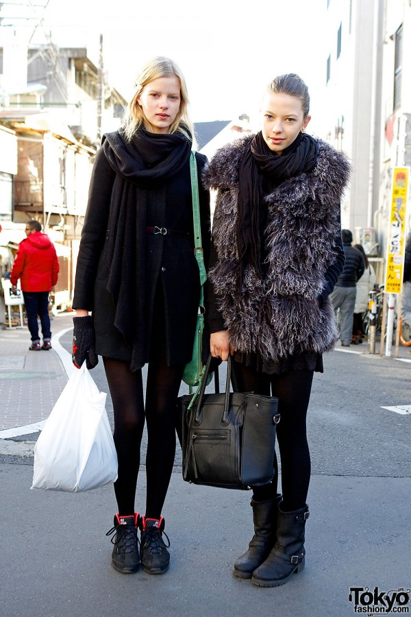 Estonian Fashion Models In Harajuku w/ Winter Coats & Scarves