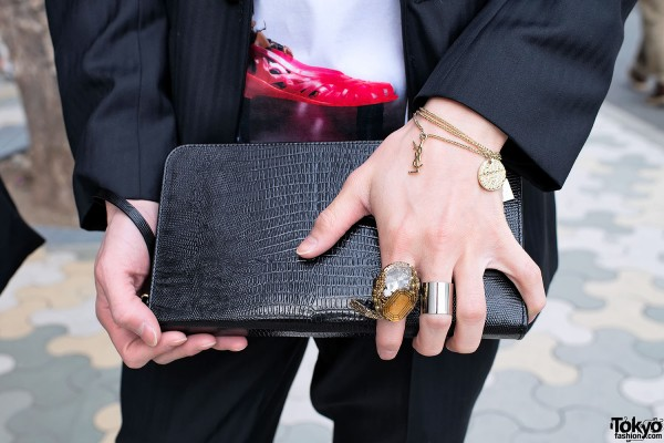 Leather Clutch & YSL Bracelet