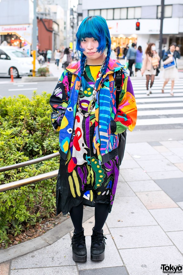 Blue Braids, Colorful Prints & Tokyo Bopper in Harajuku