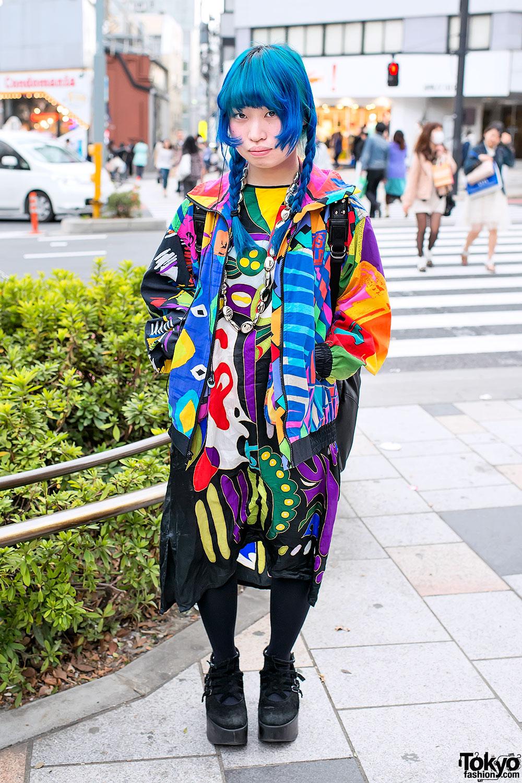 blue braids colorful prints tokyo bopper in harajuku