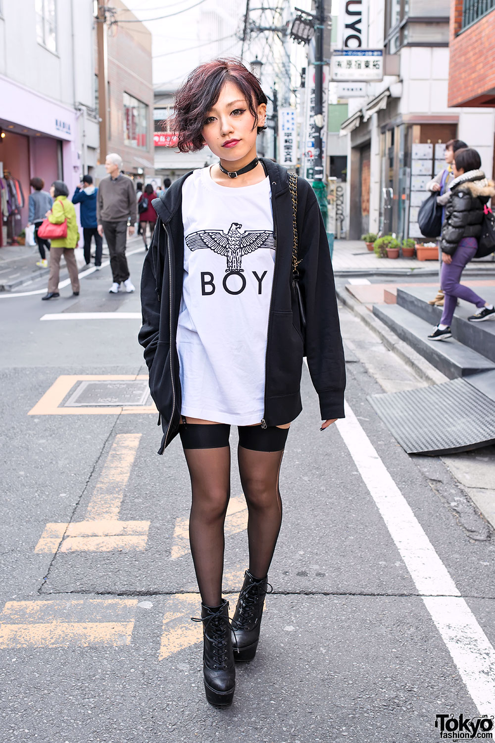 Harajuku Girl In Boy London Garter Stockings Amp Platform