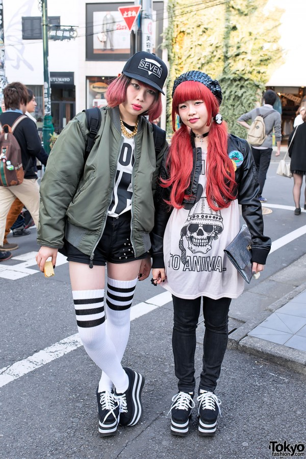 Jeffrey Campbell Platform Sneakers, Pink Hair & Bombers in Harajuku