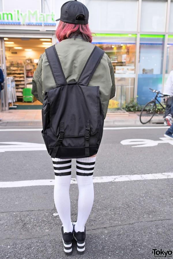 Striped Over-The-Knee Tube Socks & Backpack