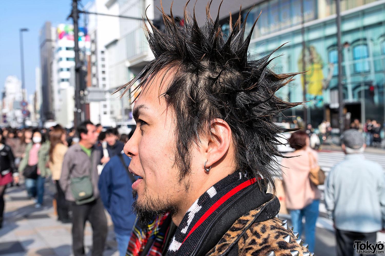 Harajuku Street Punks W Mohawk Head Tattoo Spikes Amp Kilt