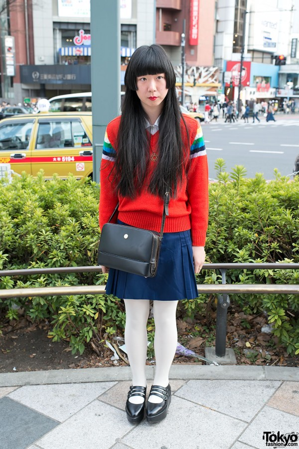Retro Style w/ Marie Claire Paris Bag, Long Hair & Sweater in Harajuku