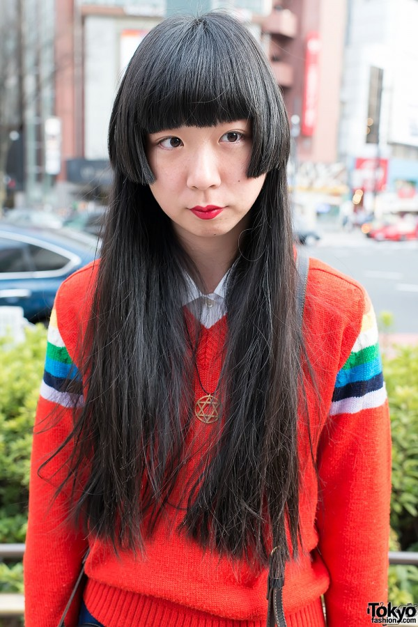 Long Hair & red Lipstick in Harajuku