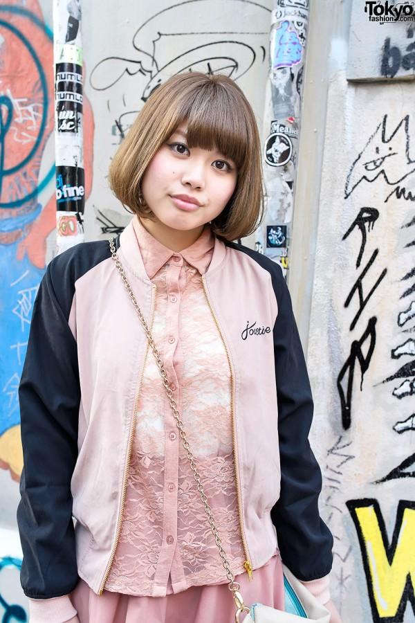 Cute Lace Top & Bob Hairstyle in Harajuku