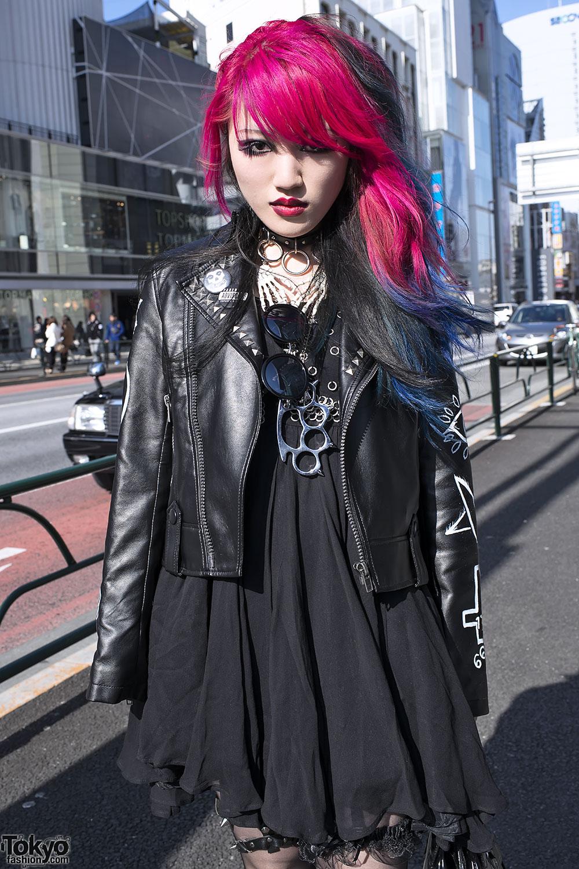 Dip Dye Hair, Biker Jacket, Spiked Garter & Demonia Boots in Harajuku