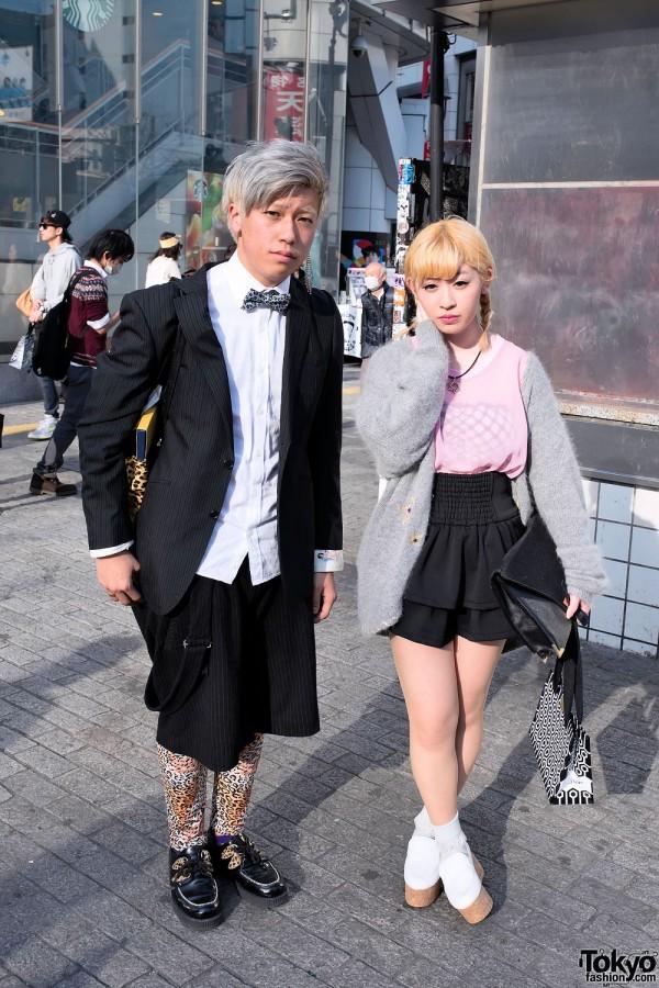 Stylish Shibuya Pair's LOVE/HATE Creepers, Tiered Skirt & Leopard Print