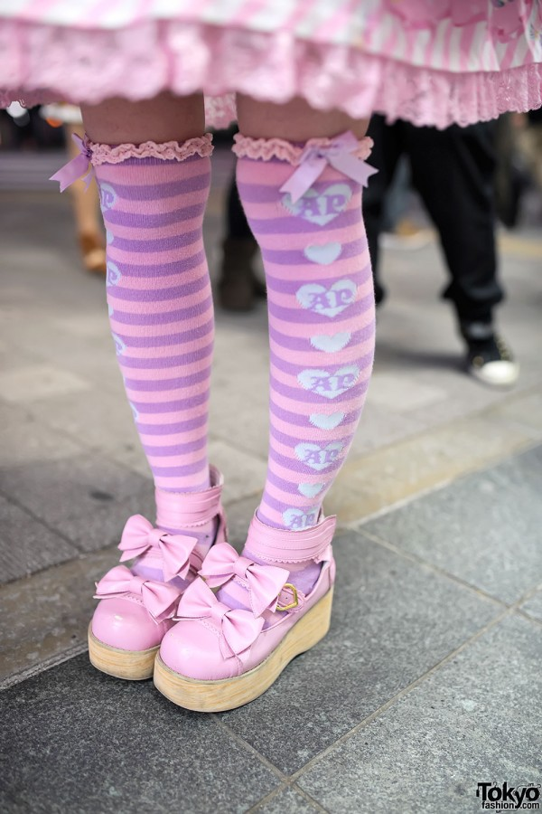Angelic Pretty Striped Socks & Lolita Shoes