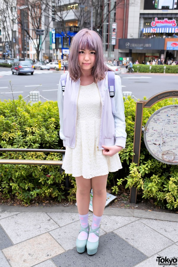 Pastel Hair & Pastel Fashion w/ Cute Backpack in Harajuku