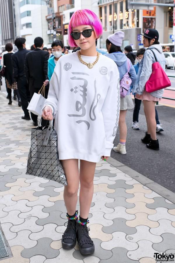 Short Pink Hair, Issey Miyake Bao Bao Bag & Tokyo Bopper in Harajuku