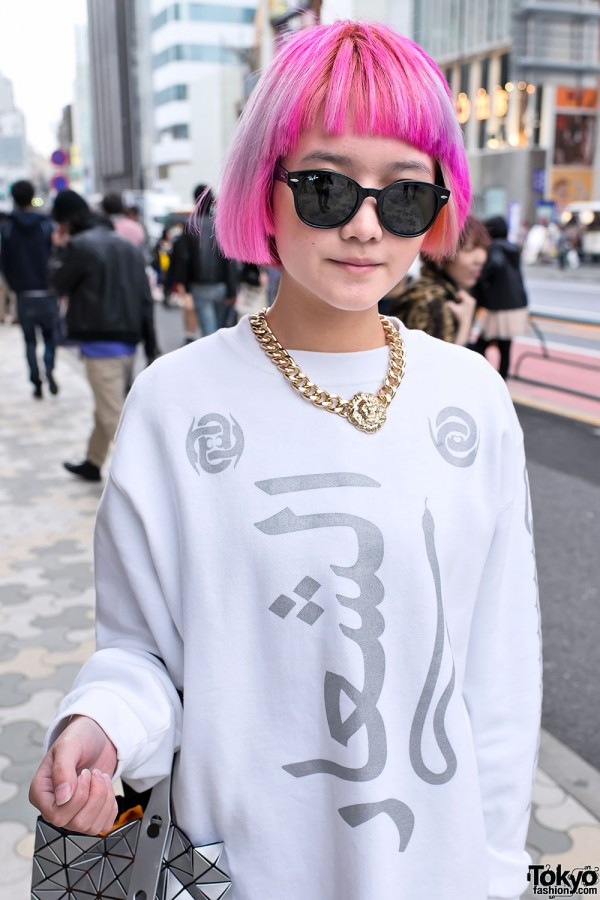 Pink Hair & Statement Necklace in Harajuku