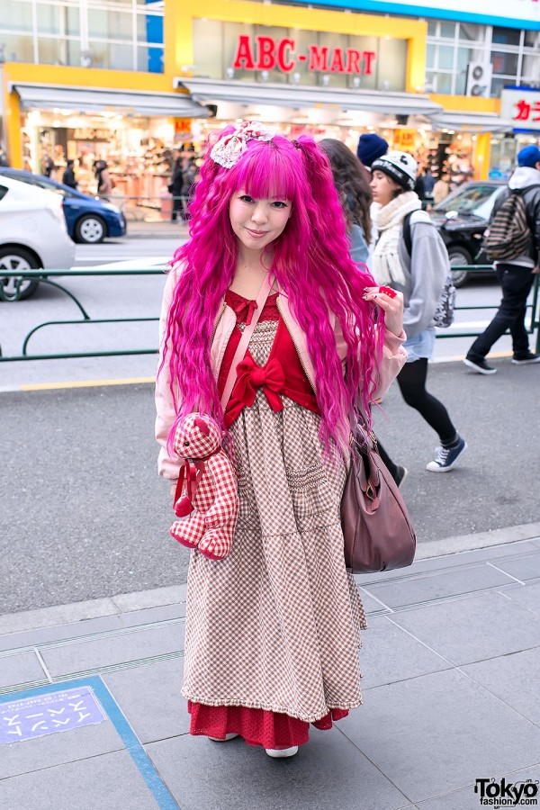 Pink Hair, Pink House Teddy Bear & Vivienne Westwood in Harajuku