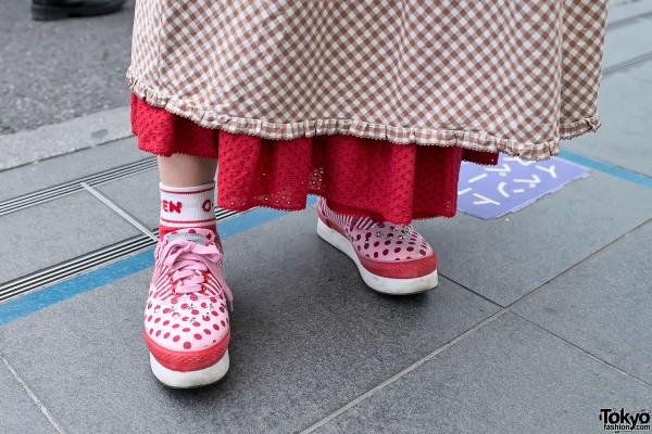 Pink Polka Dot Sneakers
