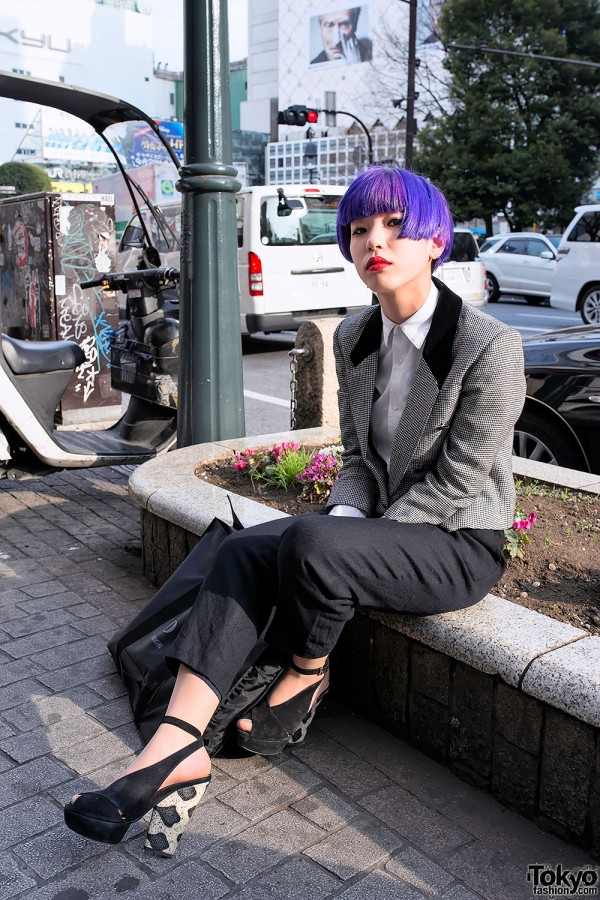 Purple Bob Hairstyle & Suit in Shibuya