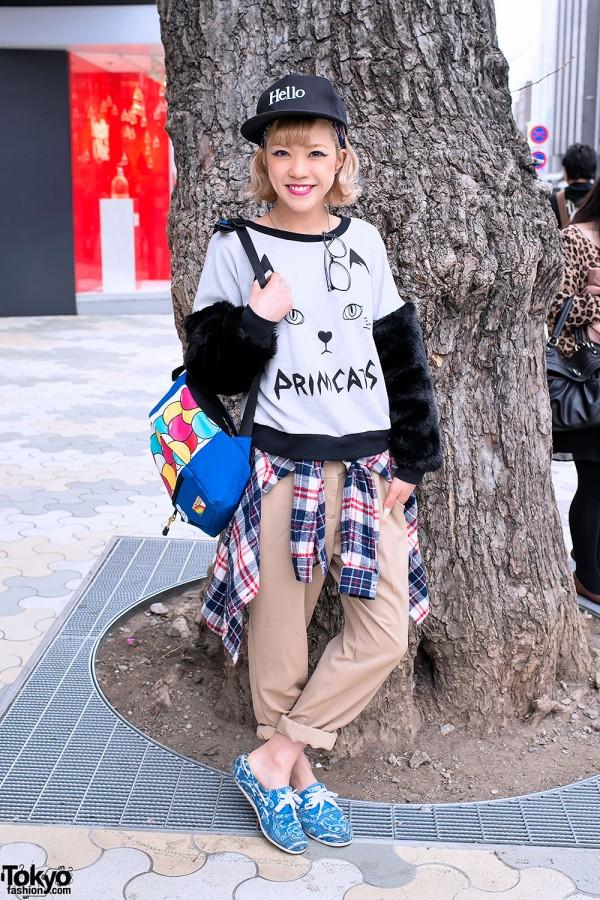 "Recchi in Harajuku w/ Cat-print Top, ""HELLO"" Cap & Kawaii Backpack"