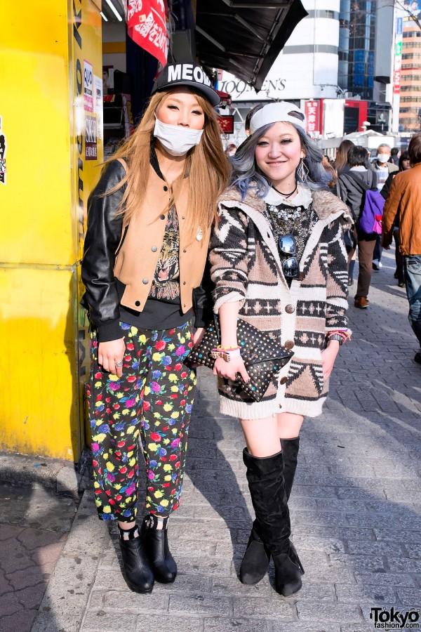 "Shibuya Girls w/ ""MEOW"" Cap, Studded Jeweled Clutch & Suede Boots"