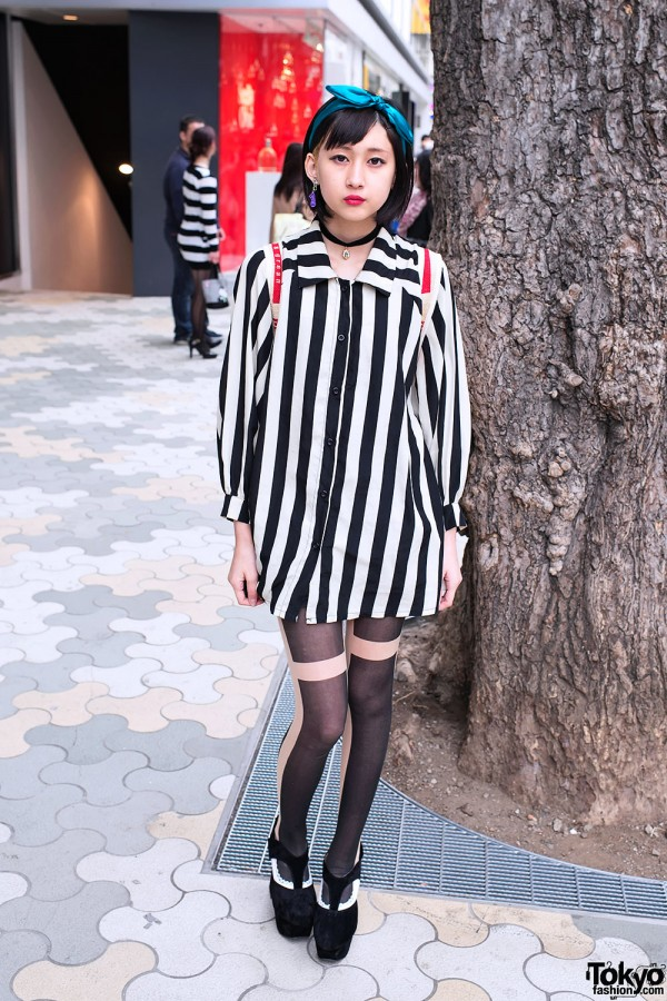 Harajuku Girl w/ Vertical Stripes, Graphic Tights & Suede Heels