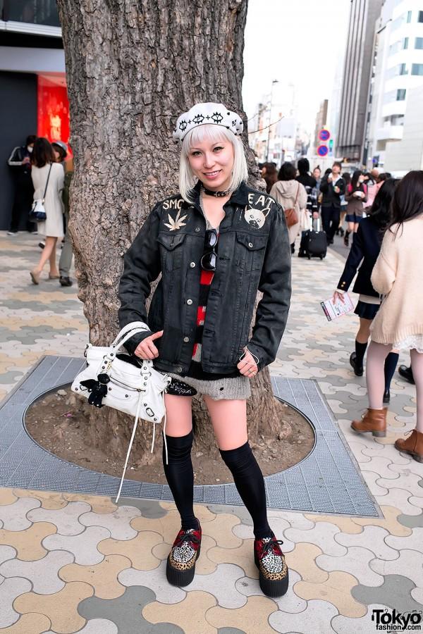 "Unif ""No Hope"" Jacket, Creepers & Knee High Socks in Harajuku"
