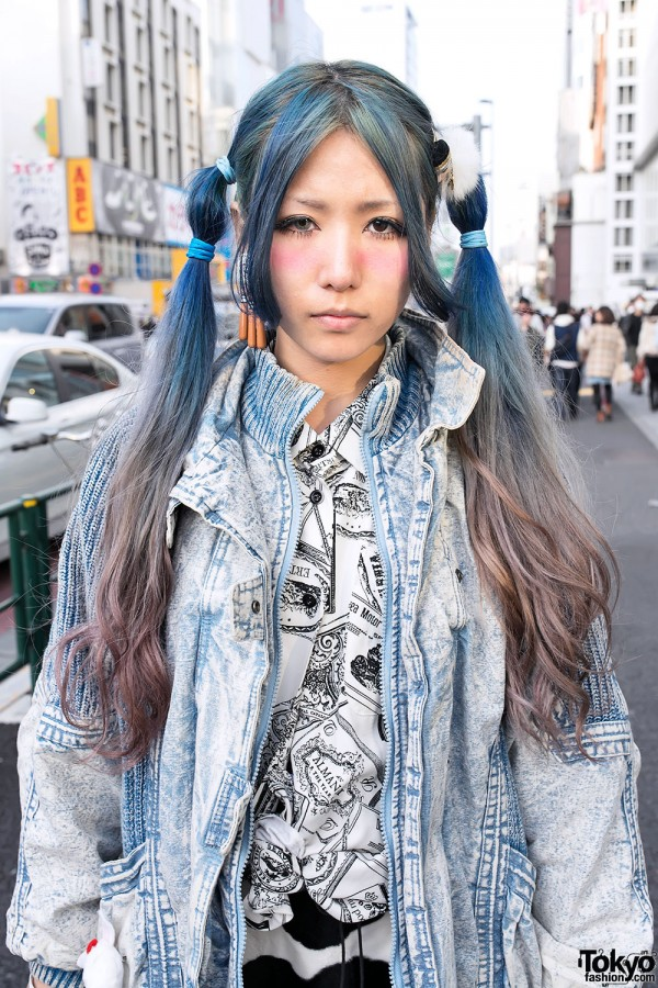 Blue Ombre Hairstyle in Harajuku