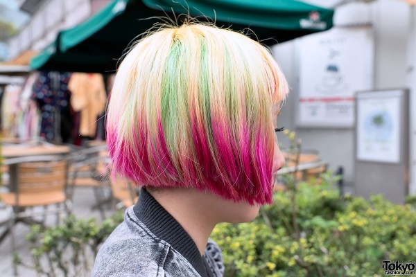 Colorful Bob Hairstyle in Harajuku