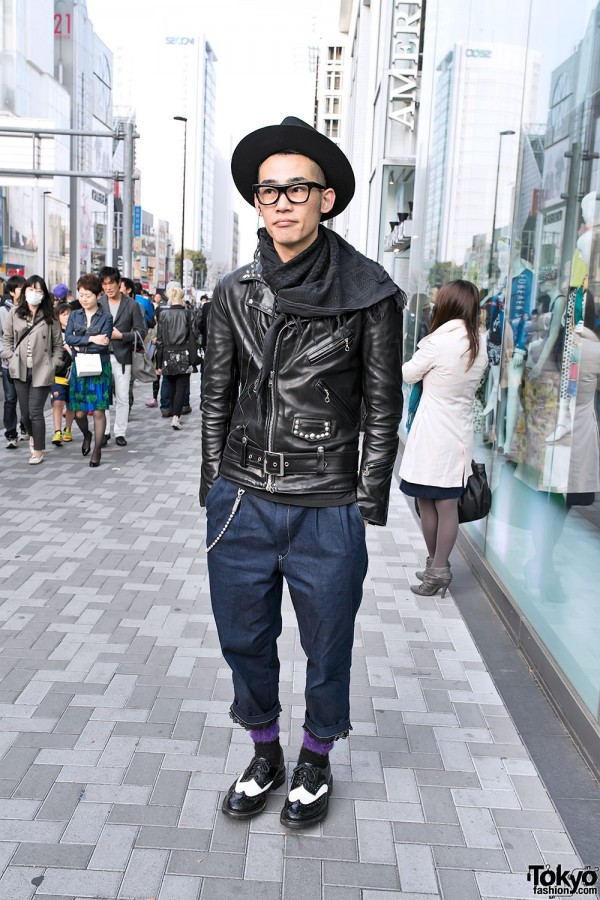Harajuku Guy in Wide Brim Hat, Studded Leather Jacket & Brogues