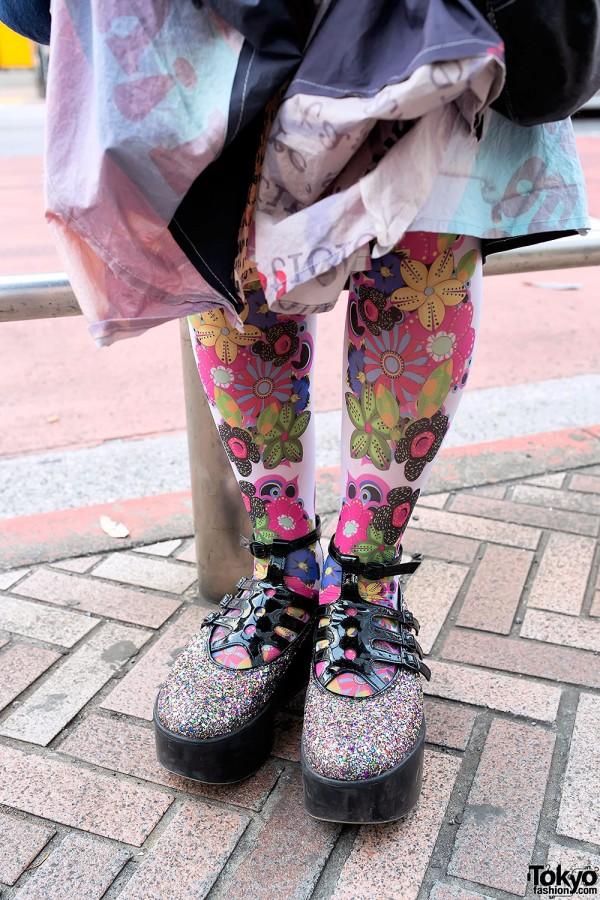 Flower Tights & Sparkling Tokyo Bopper Shoes