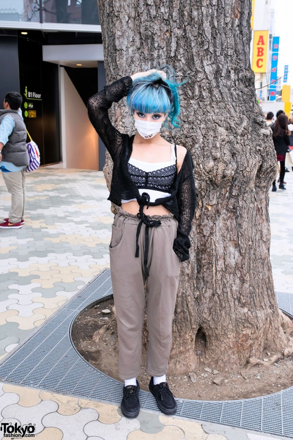 Juria Nakagawa in Harajuku w/ Nicopanda, Blue Hair & Blue Eye Makeup