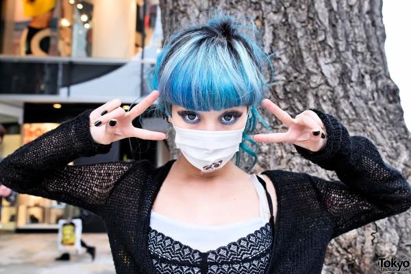 Blue Hair & Dramatic Eye Makeup in Harajuku