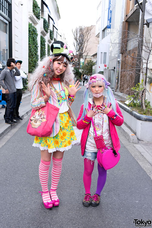 Colorful Kawaii Decora Girls On Cat Street In Harajuku