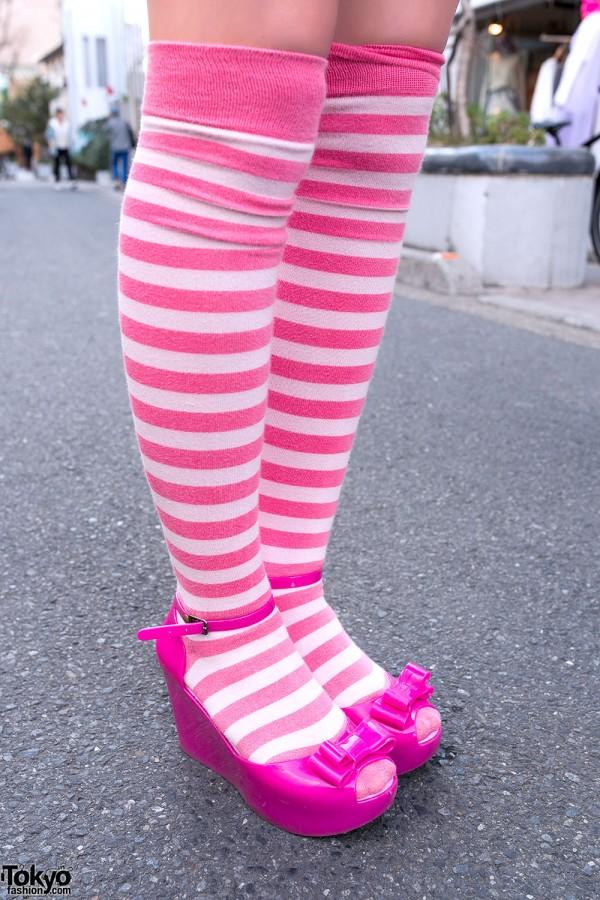 Striped Knee High Socks & Melissa