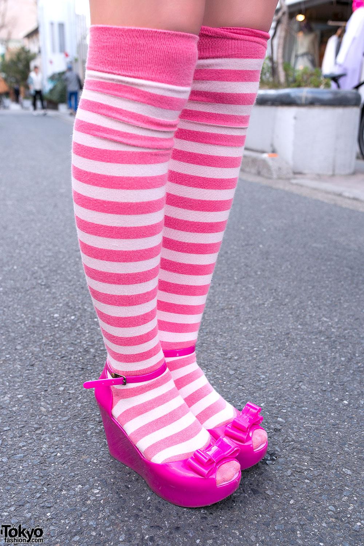 Striped Knee High Socks Amp Melissa Tokyo Fashion News