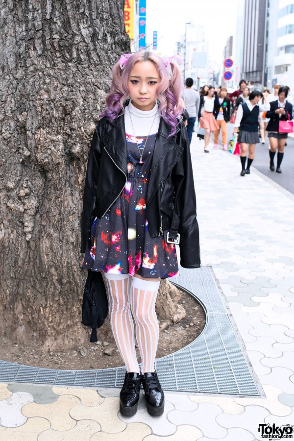 Space Print Dress in Harajuku