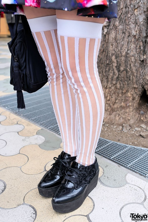 Striped Thigh Highs & Platforms
