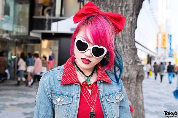 Dip Dye Hair & Heart Glasses in Harajuku